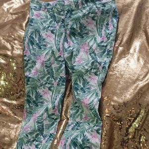 Pixie pants foral jungle pattern
